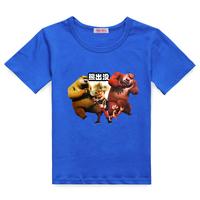 Bare-headed children's clothing male child spring big black bear 2013 short-sleeve T-shirt