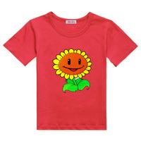 Children's clothing plants vs . zoombies short-sleeve T-shirt male female child costume child classes