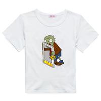 Plants vs . child zoombies short-sleeve T-shirt male child summer short-sleeve 100% cotton o-neck boys clothing