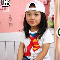 Super man mark of clothing short-sleeve T-shirt male female child summer child tie 2013 summer