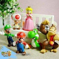 Lots 6 pcs Nintendo Super Mario Bros Action Figure New Free shipping & wholesale