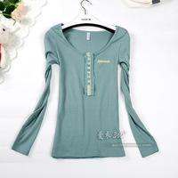 Free shipping  drop shipping women's   solid color button o-neck long-sleeve T-shirt basic shirt