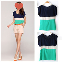 New Brand Womens Fashion Casual Striped Colors Collision T-Shirt Tops Blouse M/L/XL