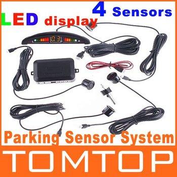 4Pcs/Lot Car LED Display Parking Reverse Backup Radar w/4 Sensors & sound alert,free shipping Wholesale