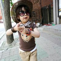 Cheap Kids Clothing Cartoon Boy Tops Children Bear Printed Tshirts Summer Wear,4pcs/lot K0488