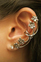 Free Shipping! Min. Order 10USD(Can Mixed Order) Fashion accessories vintage punk flower clip earrings