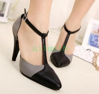 2013 new sexy high-heeled shoes spell color the pointed hollow shoes shoes free shipping
