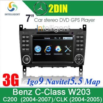 3G 7inch Car DVD player Car GPS for MERCEDES BENZ C Class W203 (2004-2007) CLK (2004-2005) with GPS Bluetooth in dash Auto radio