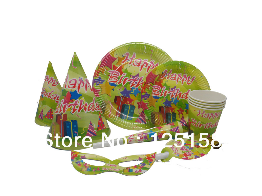 Free shipping,Children&#39;s Birthday Party kit theme 6 kits Cartoon Disposable cup ,plate,blowout,Napkin,horn,Mask ,Hat,ZH13016(China (Mainland))