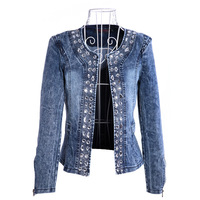 Hot sale 2013 Denim Clothings Patchwork Outwear short Jeans Coat Classical Women Fashion Jean rivets Jacket Free Shipping