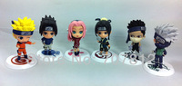 2013 Cute Naruto action figure anime  Figures Sasuke  Haruno Sakura Toys  6pcs/set  7.5cm  free shipping hot sale