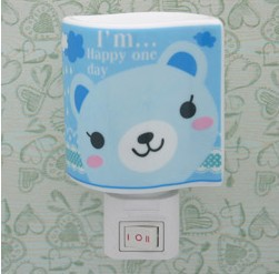 Novelty Gift for Kid and Children Cartoon Ceramic Night Light Blue Bear Lamp Aroma Room Lights Energy Saving Plug Light(China (Mainland))