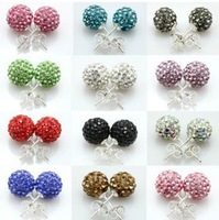 Factory wholesale diamond earrings Korean version of stud earrings diamond ball earrings multicolor