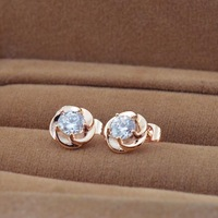 New blossoming plum big flash diamond rose gold earrings 14K earrings rose gold plated rose gold titanium steel