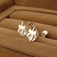 Factory wholesale bow crystal rose gold plated titanium steel K earrings rose gold earrings ME-006