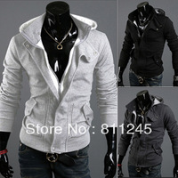 Free shiping!! Hotselling Wholesale price 3 colours M~XXL Size new Men's Sweatshirts with Hat Man Casual jacket best selling