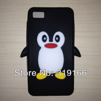 Cute 3D Penguin soft  Silicone Case Cover For Blackberry Z10, Mix Color+  Free Shipping 200pcs