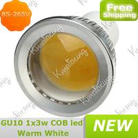 Down Led Spotlight 85-265V GU10 COB New Lamp 3W Saving Energy High Power Bulb Warm White free shipping