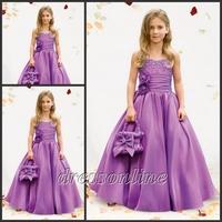 FG035 Free Shipping Cheap A Line Custom Made Purple Taffeta Little Girl Dress Flower Girl Dresses with Spaghetti Straps