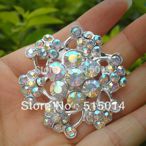 Free Shipping ! Crystal AB Rhinestone Brooch With Pin Make of Silver Plated.Price Negotiable for Large Order(China (Mainland))