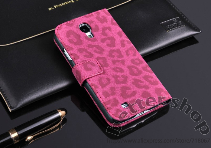 20pcs Leopard Leathre Flip mobile Case For Samsung Galaxy S4 i9500 Wallet With Card Holder Stand Cover *FREE SHIPPING BY DHL(China (Mainland))
