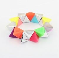 Min. order is $15(can mix)fashion bracelets&banges/Colorful three-dimensional geometric Stretch Bracelet