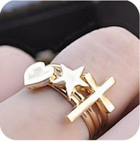 0302 Min order is $8 ( mix order ) Fashion Jewelry Vintage Exaggerated Cross Five Stars Love Heart Three-piece Finger Ring