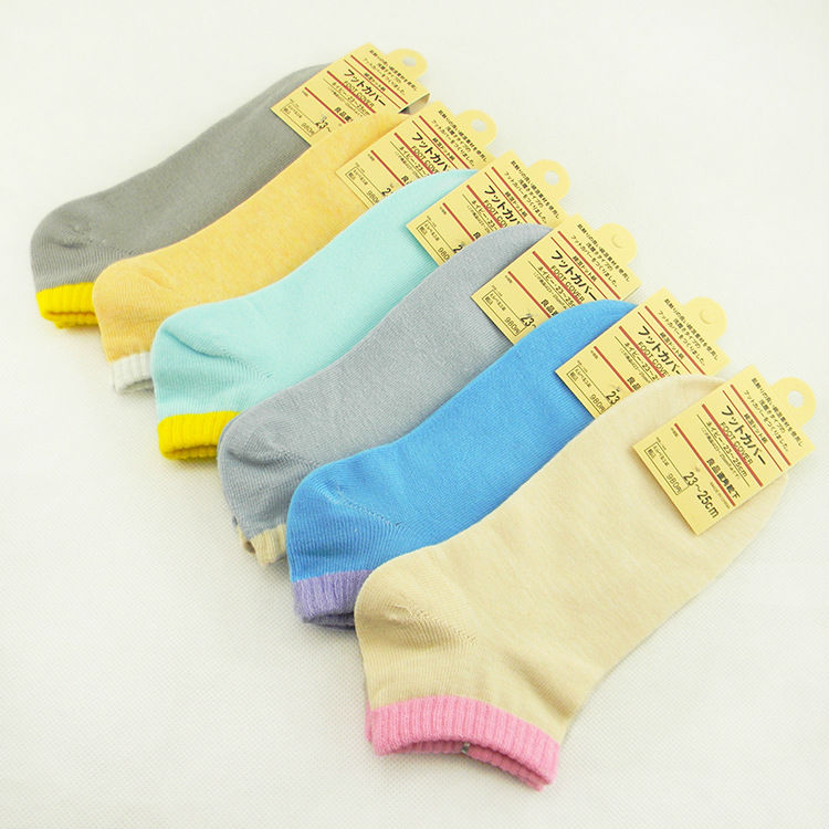 2013 new women's solid color cotton socks clear color footsocks four seasons cotton boat socks(China (Mainland))
