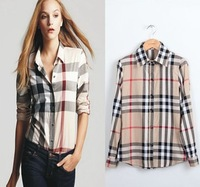 2013 Spring New Arrival fashion woman Cotton blouses Vintage Classic Plaid Long sleeves shirts free shipping
