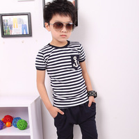 5 PCS/lot free shipping, wholesale children boy with short sleeves in summer of 2013 sport navy striped suit