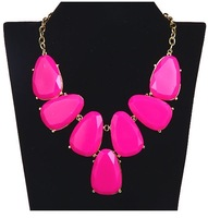 free shipping hot sale in 2013  fashion plum red resin necklace choker necklace teardrop chains choker lenth 46cm