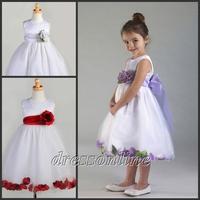 FG100 High Quality Lovely Cheap A Line White Satin Custom Made Little Flower Girl Dresses First Communion Dress