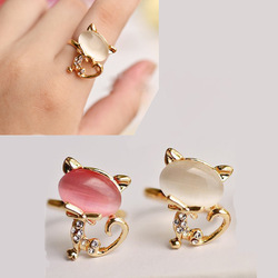 2013 new Korean version of the Ring opening female models cute little cat index finger ring crystal jewelry of killing(China (Mainland))