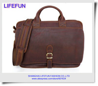 2014 new men GENUINE LEATHER Real Crazy Horse Leather Messenger bag Handbag Bag Laptop bag Briefcase LF5111