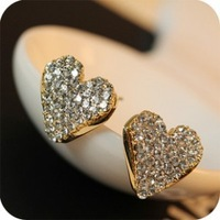 Trendy Unique Luxury Gold Metal Rhinestone Heart Stud Earrings 2pairs/Lot Z-C9026 Free Shipping