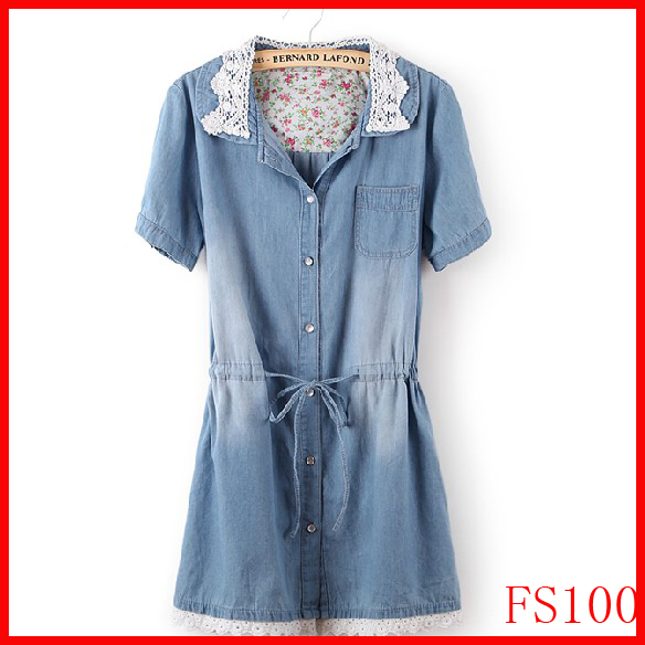 Newest Korean Style Fashion Women's Denim Thin Dress,Popular Lace Neck Ladies' Jeans casual Dresses Plus Sizes,Free shipping(China (Mainland))