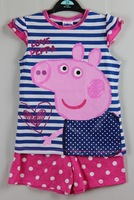 George Peppa pig 2 piece set summer outfit short sleeved shorts stripe 2013 brand new birthday gift embroidery detail
