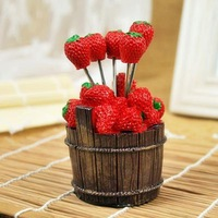 2014 Buckets of strawberry design  fruit fork  fruit stick 5 forks/set Free shipping