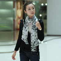 Blue 2012 spring and summer hot-selling silk scarf mulberry silk dot autumn and winter female long silk