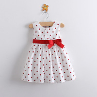 2013 summer female child big boy 100% cotton cloth polka dot high waist bow sleeveless one-piece dress tank dress lacing