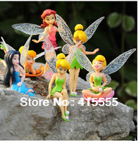 Tinkerbell Fairy  Adorable tinker bell  Figures Toys  set  6PCS/set High Quality PVC 9cm hot sale