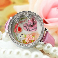 2013 Diamond Lovely Bowknot , Japan South Korea Style min Handmade polymer clay watches Luxury fashion PINK watches