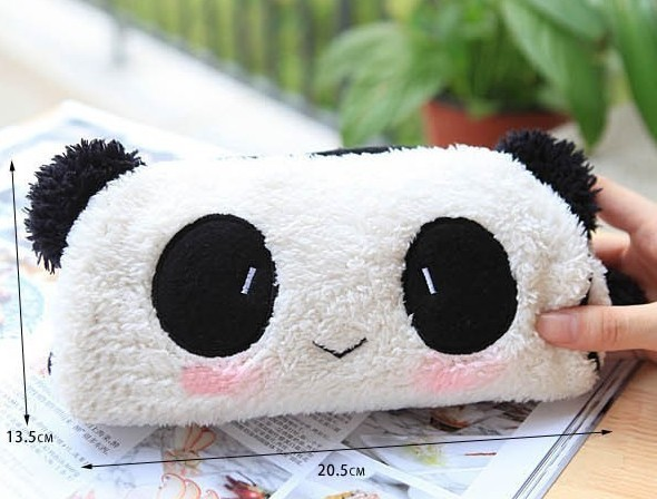 5PCS Kawaii Plush Fluffy Panda Pen Pencil BAG Pouch Case Packs; Pendant Cosmetic & Beauty Pouch Bag Case Coin Purse Wallet BAG(China (Mainland))