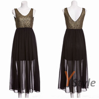 Fashion Ladies Dresses Long Chiffon Dresses with Rose Flower Decorated for Party Elegant Golden Silk Yarn Dresses Drop Shipping