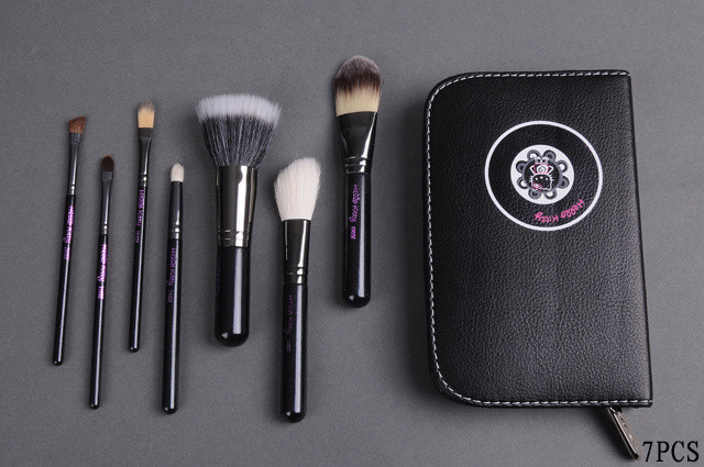 New Arrival Free Shipping MAKEUP brushes professional brush hello kitty 7 pieces+black leather case ( 40 pcs /lot) by EMS/DHL(China (Mainland))