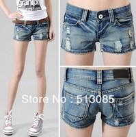 2013 New Arrival Fashion Hot Sale Women Lady Slim Denim Hole Short Shorts Jeans Shorts Pants Size S M L XL  Free Drop Shipping