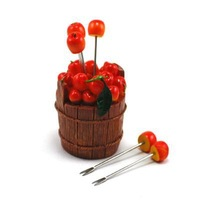 2014 Barrel cherry design  fruit fork  fruit stick 5 forks/set  11.3*8.1*8.1cm Free shipping