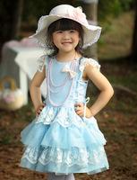 Cute baby girl one-piece blue dress kids summer short sleeve dress children princess lace layered tutu dress birthday clothes
