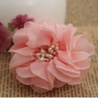 Free shipping,7cm satin Handmade diy flowers for corsage or hair accessory 70pcs/lot