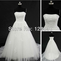 Free Shipping cheap Unique Best-selling Elegant Satin Appliques Sweetheart Strapless A-Line Wedding dresses